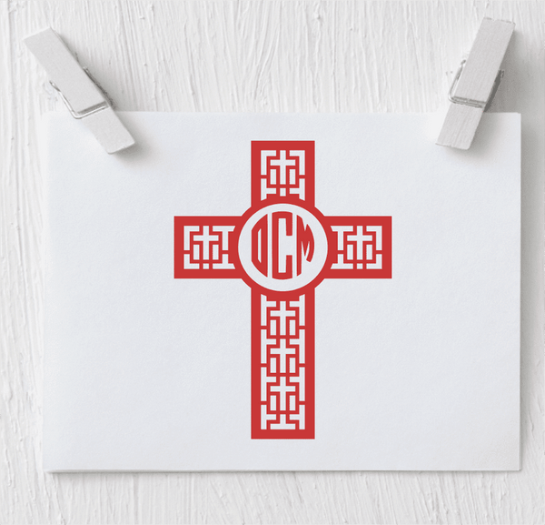 Cross Monogram Decal - Clowdus Creations