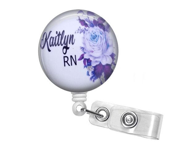 ID Badge holder - White and Purple Floral - Clowdus Creations
