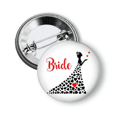 Pin Back Button - Bride - Clowdus Creations