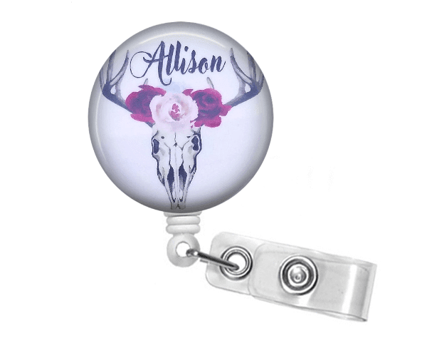 Retractable Badge Holder - Skull and Floral Badge Reel - BR024 - Clowdus Creations