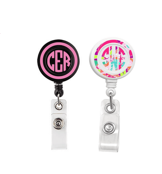 Retractable Badge Holder - Patterned Vinyl Monogram Badge Reel - Clowdus Creations