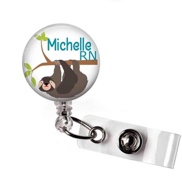 Sloth badge Reel - White Background - Clowdus Creations