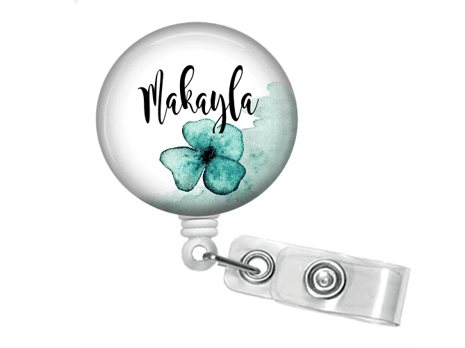 Retractable Badge Holder - Blue watercolor flower BR034 - Clowdus Creations - An ID Badge Holder is the perfect personalized gift for any student or professional. Badge reel holders are great for the nurse, doctor, hospital staff or the student in your life.