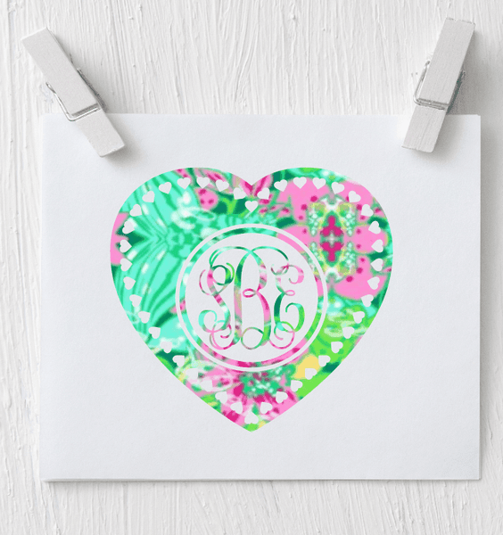 Heart Monogram Decal - Clowdus Creations