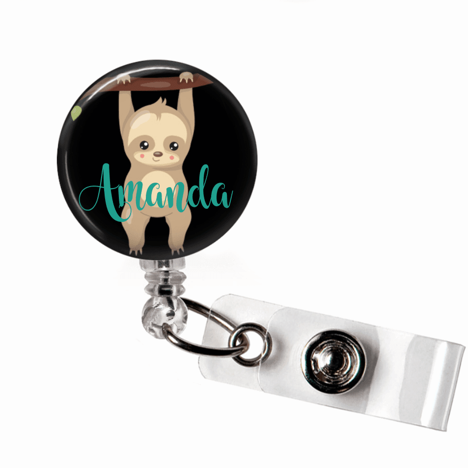 Sloth Badge Reel - Black Background BR117