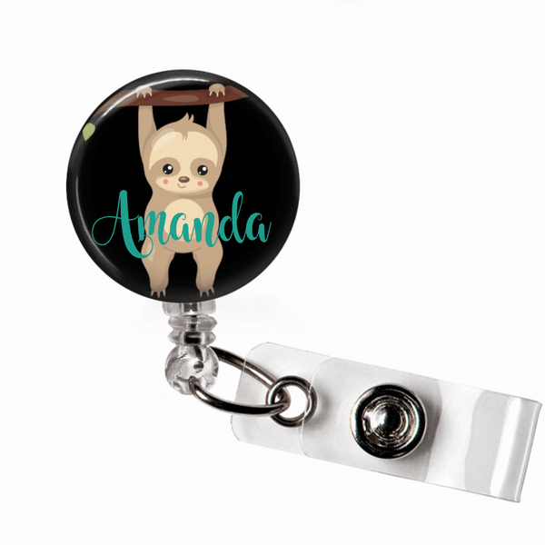Sloth Badge Reel -Black Backround - Clowdus Creations