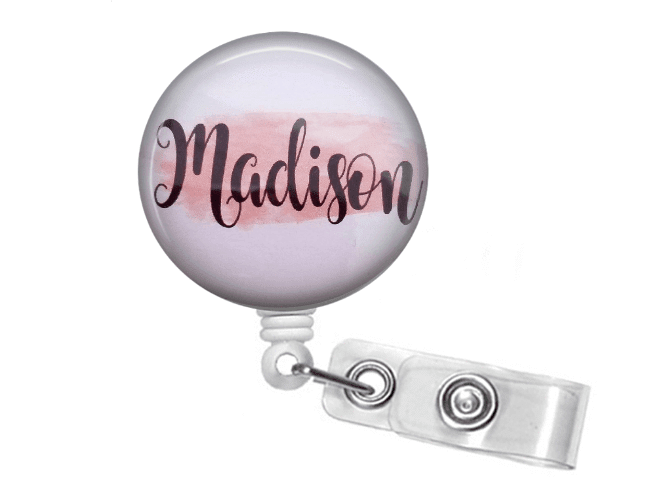 Retractable Badge Holder - Pink brush stroke - Clowdus Creations