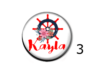 Badge reel - Floral and Anchor - Clowdus Creations