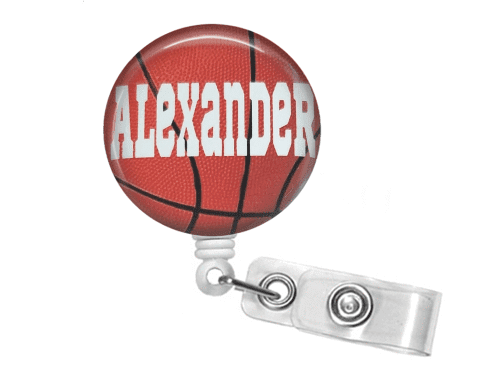 Retractable Badge Reel - Basketball - Clowdus Creations