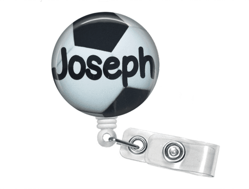 Retractable Badge Reel - Soccer - Clowdus Creations