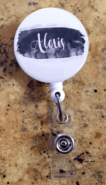 Retractable Badge Holder - Black brush stroke - Clowdus Creations