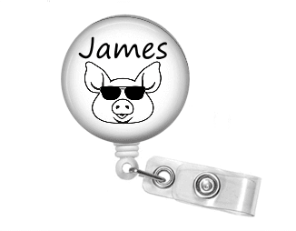 Badge Reel - Pig Sunglasses - Clowdus Creations