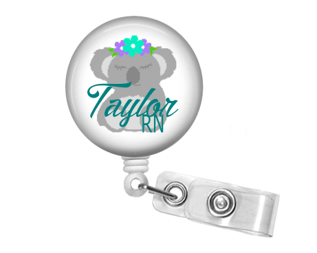 Badge Reel - Koala Bear with bow - Clowdus Creations