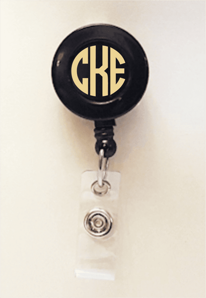 Retractable Badge Holder - Solid Vinyl Monogram Badge Reel - Clowdus Creations