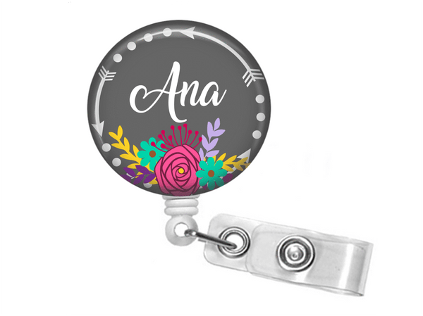 ID Badge holder - Floral and Arrow Badge Reel - Clowdus Creations