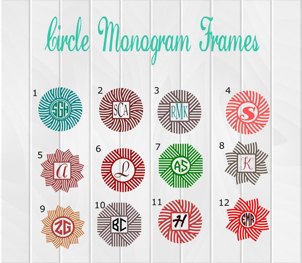 Fancy Circle Monogram Frame Decals - Clowdus Creations