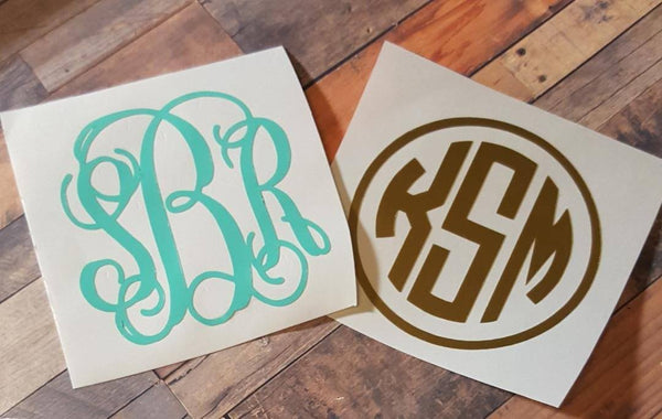 Solid Color Monogram Decal - Clowdus Creations