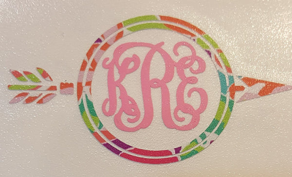 Monogram Arrow Decal - Clowdus Creations