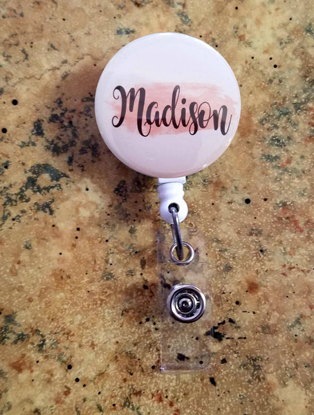 Badge Reels, Retractable Badge Holder, ID Badge Holder, Nurse Reel, Badge Reel, Personalized Badge Reel, Nurse, RN, Pink brush stroke
