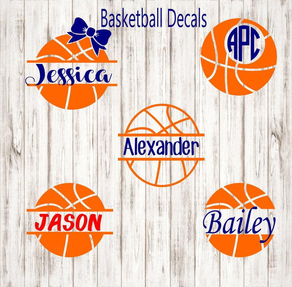 Basketball Monogram Decal - Clowdus Creations