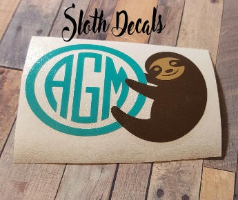 Vinyl Decal Sloth Decal Decals for yeti cups Personalized Car Decal Phone Decal Yeti Decal Sticker Accessories Sloth Monogram
