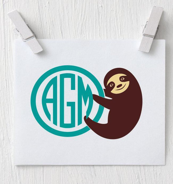 Sloth Decal - Sloth Monogram Decal - Clowdus Creations
