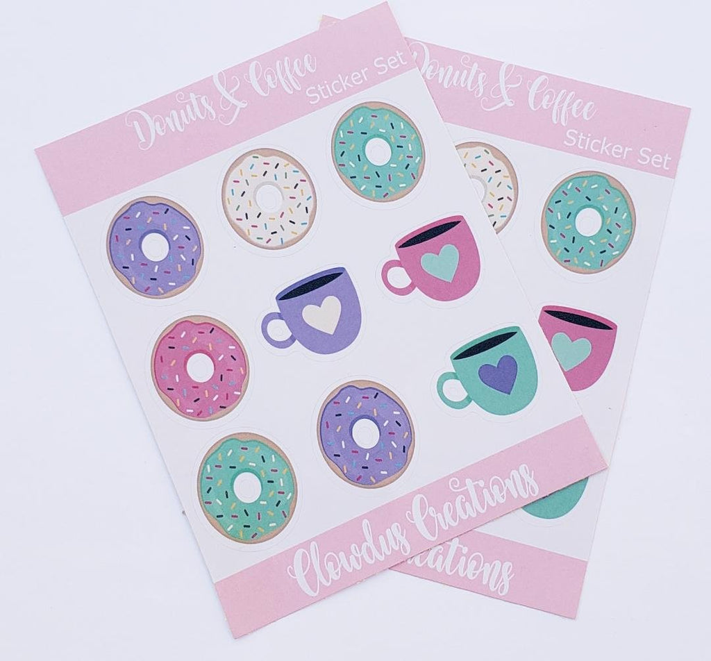 Donuts Sticker Set, 2 Piece Set of Stickers, Donuts and cups stickers