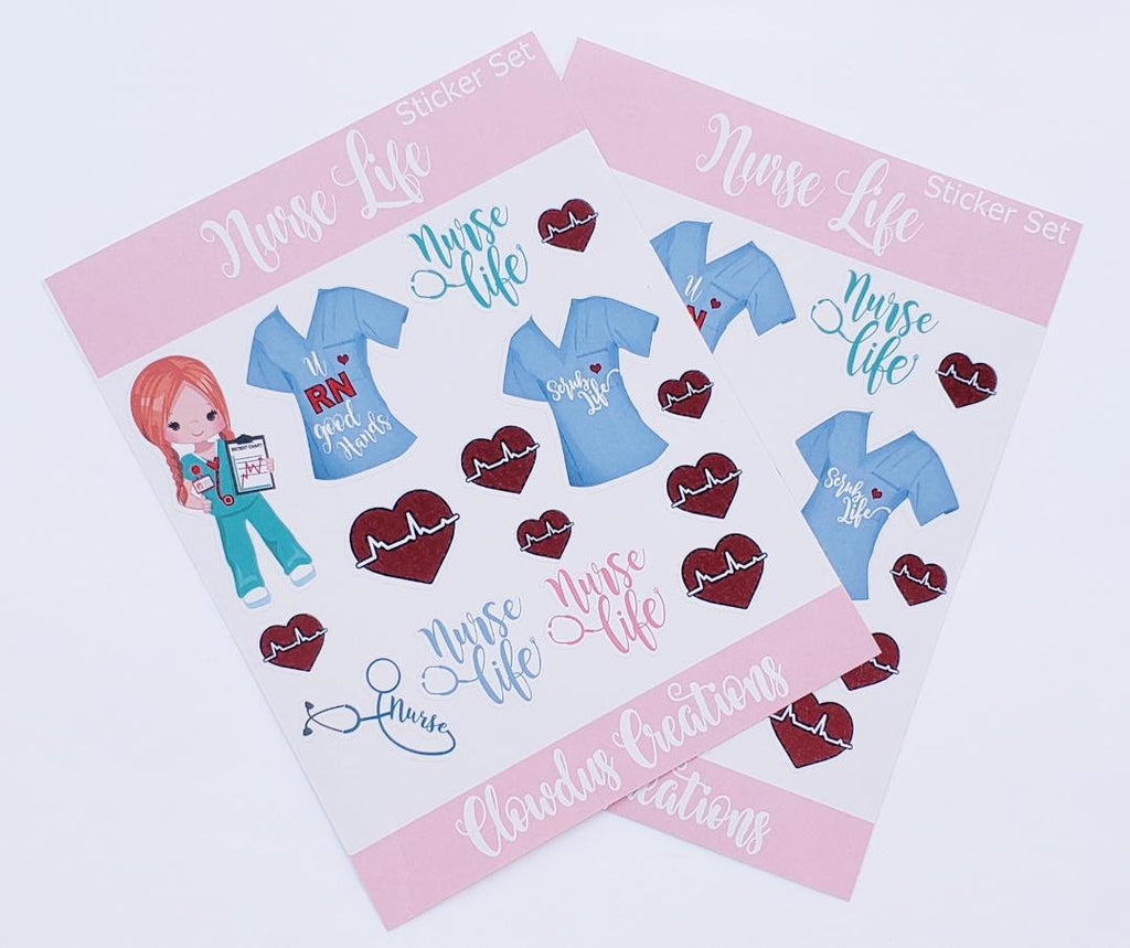 Nurse Sticker Set, 2 Piece Set of Stickers