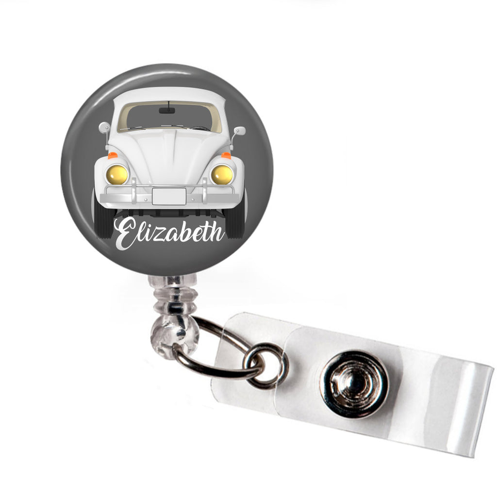 VW Bug badge reel - Grey  Badge Reels Clowdus Creations