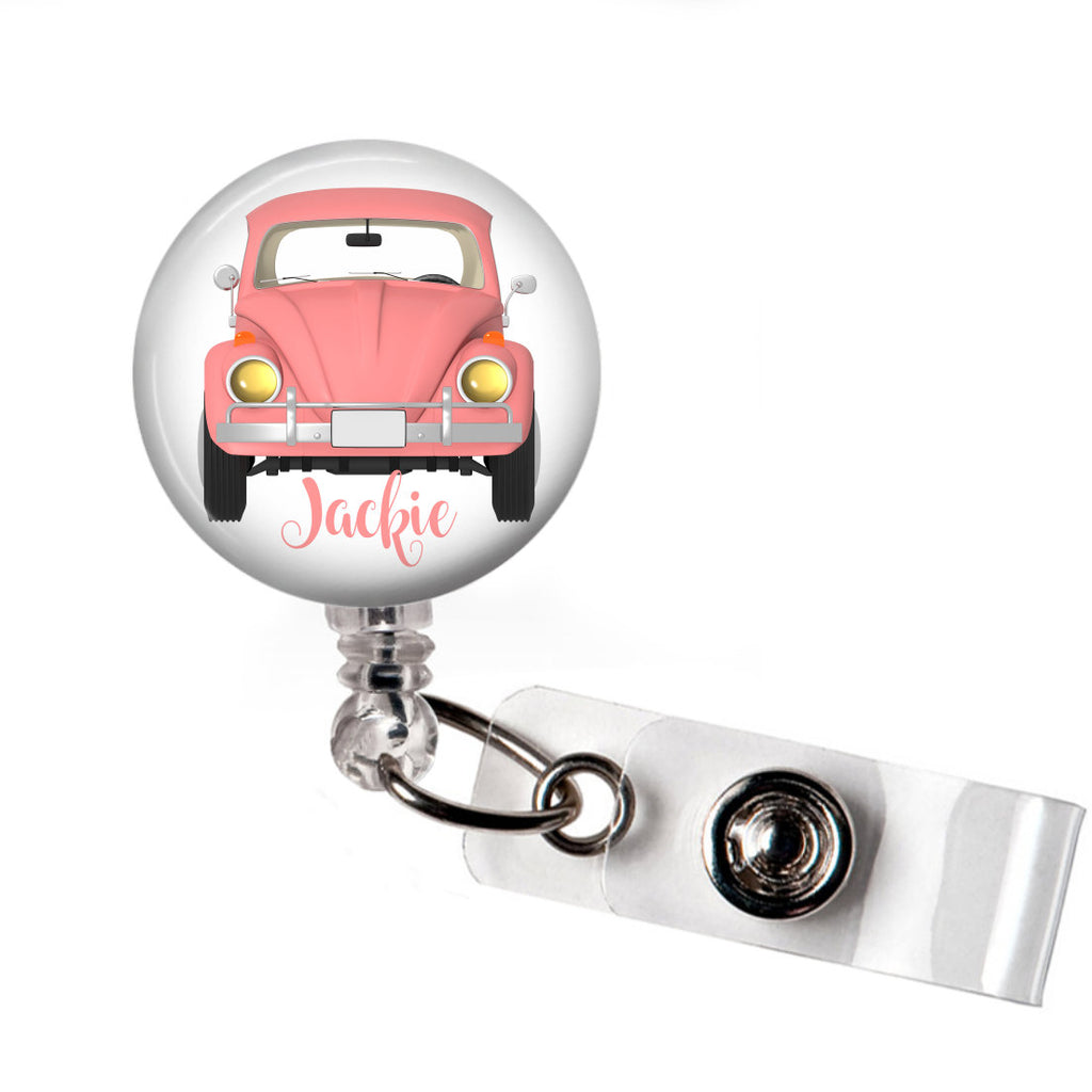 VW Bug badge reel - Pink  Badge Reels Clowdus Creations
