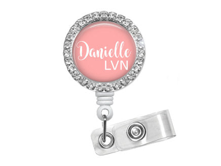 Solid Personalized Bling Badge Reel-Pink