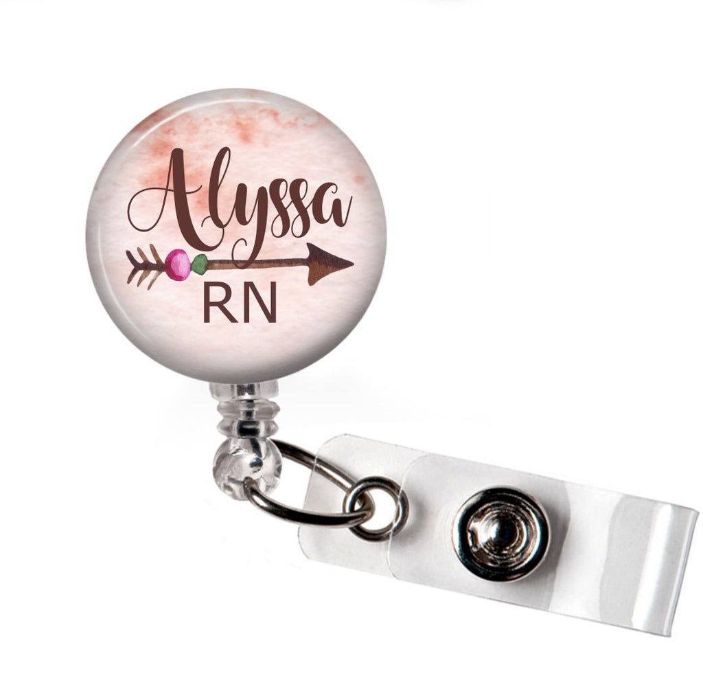 Arrow - Badge Reel with Name and Credentials Badge Reel | Clowdus Creations
