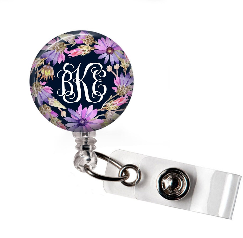 Floral Purple and Navy - Retractable badge holder  Badge Reels Clowdus Creations