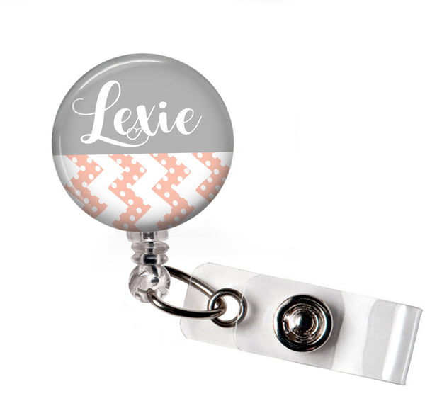 Grey with Pink Chevron -  ID Badge Reel  Badge Reels Clowdus Creations
