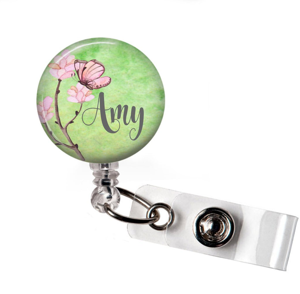 Butterfly with Green Background Badge Reel  Badge Reels Clowdus Creations