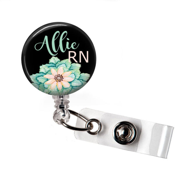 Blue Floral Badge Reel  Badge Reels Clowdus Creations