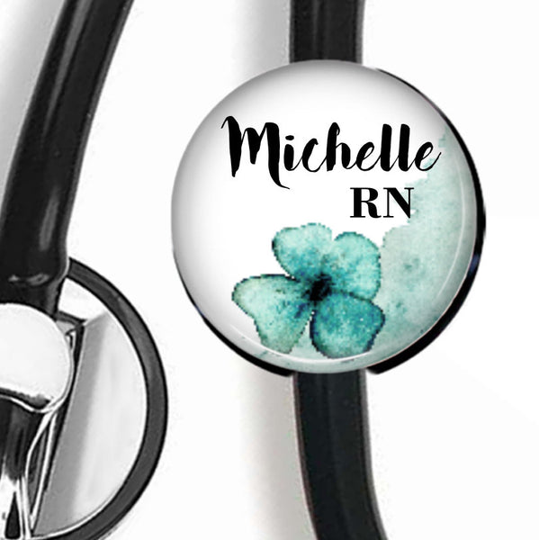 Blue Watercolor Floral | Stethoscope ID Tag