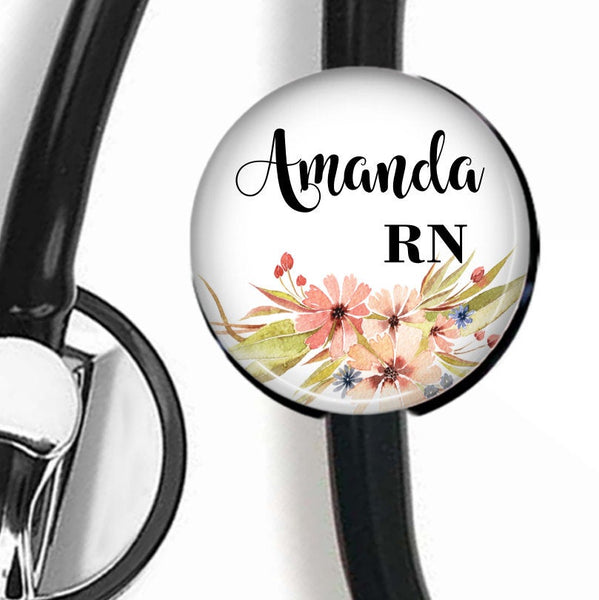 Pink Floral | Stethoscope ID Tag  Stethoscope ID Tag Clowdus Creations