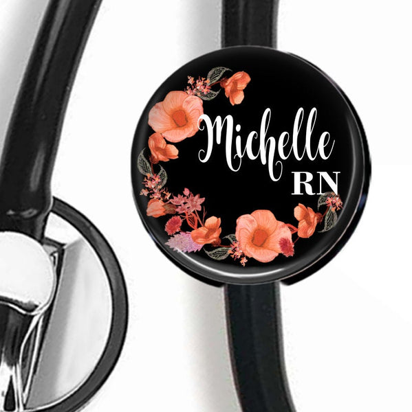 Black and Peach Floral | Nurse Stethoscope ID Tag  Stethoscope ID Tag Clowdus Creations