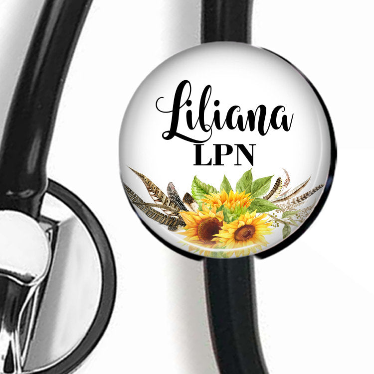 Sunflower with white background | Stethoscope ID Tag  Stethoscope ID Tag Clowdus Creations