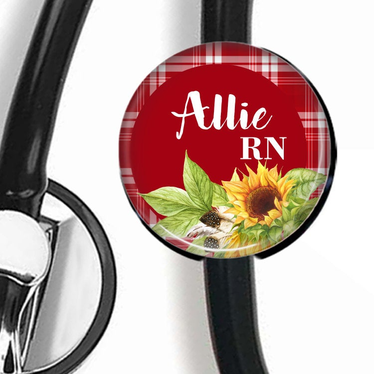 Sunflower red background | Nurse Stethoscope ID Tag  Stethoscope ID Tag Clowdus Creations