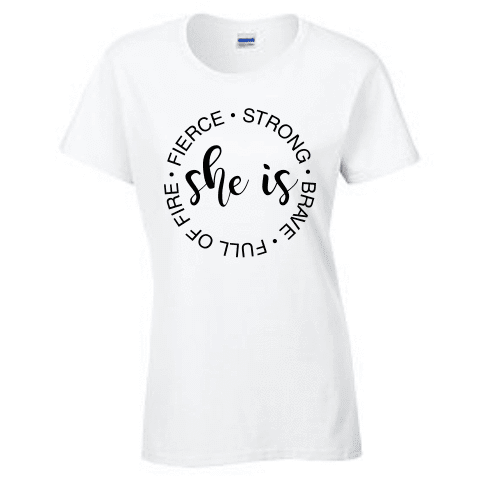 Ladies Short Sleeve T-shirt - She is strong - Clowdus Creations