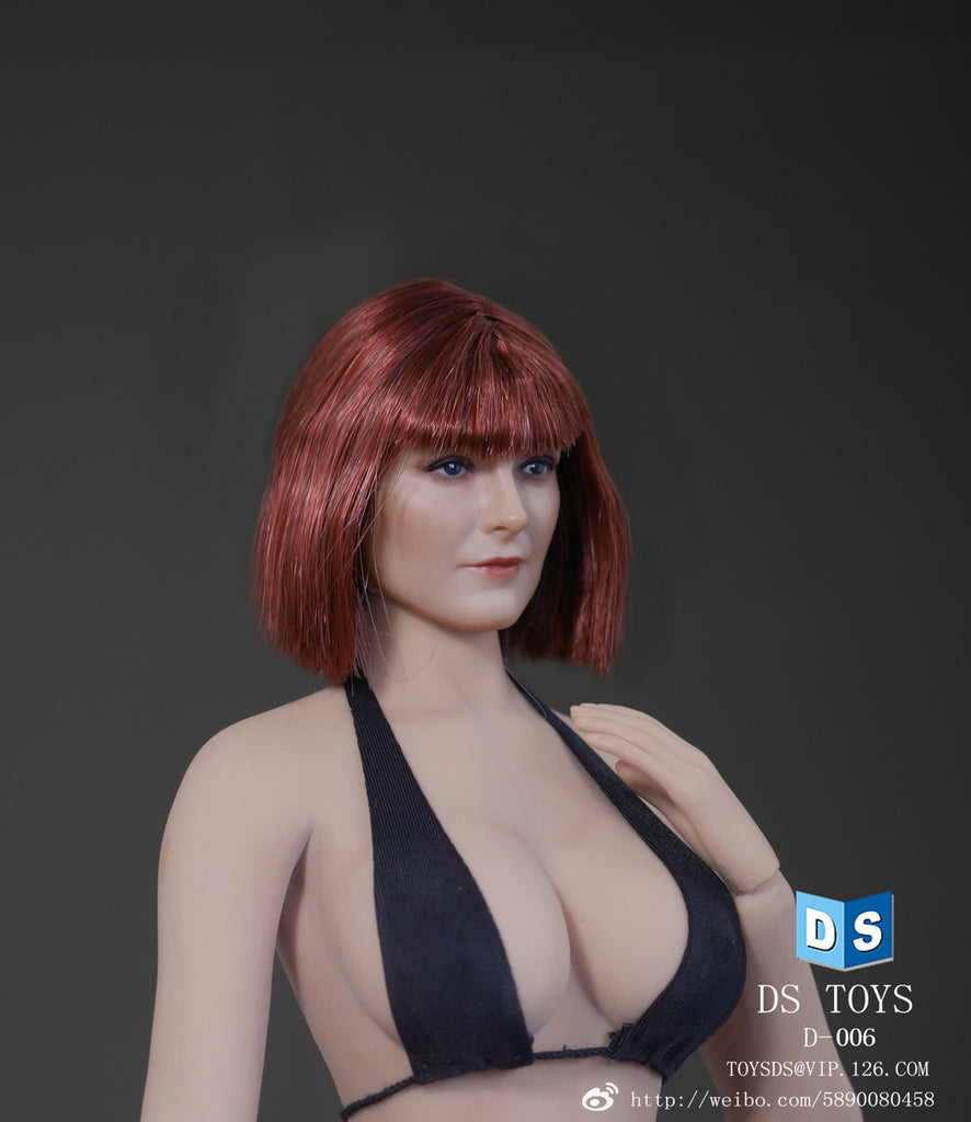 1/6 Loose Custom Female Head Sculpt Rooted Short Red Hair #DS-D006