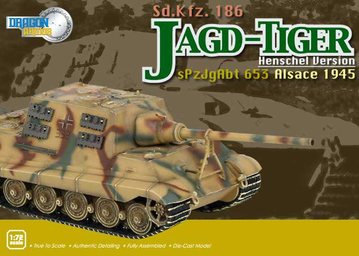 Dragon Models 1/72nd Scale Armor Series German WWII Jagd-Tiger (Henschel Version) Sd.Kfz.186 sPz.JgAbt.653, Alsace 1945 #60014