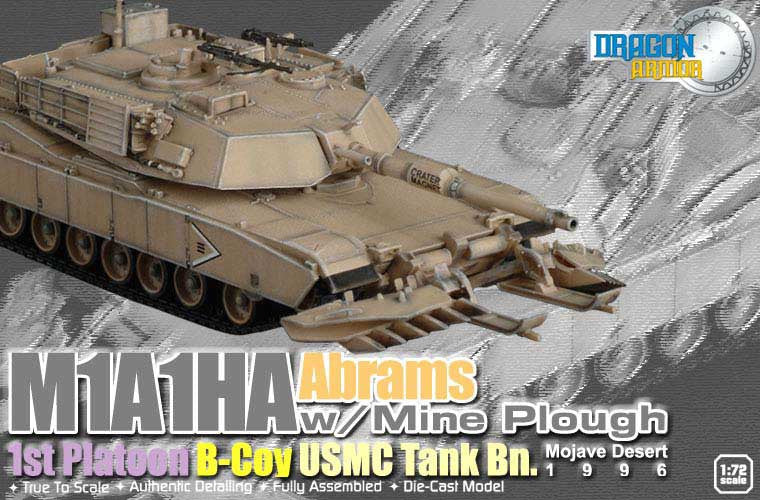 Dragon Models 1/72nd Scale Armor Series Modern M1A1HA Abrams w/Mine Plough, 1st Platoon, B-Co, USMC Tank Bn., Mojave Desert 1996 #60018