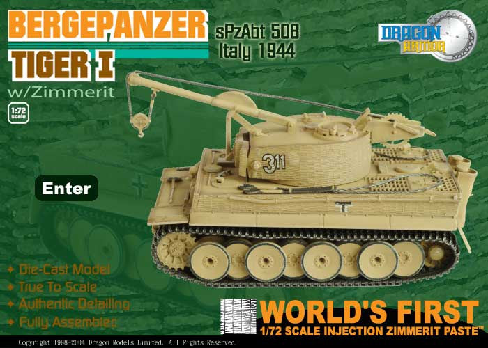 Dragon Models 1/ 72nd Scale Armor  Bergepanzer Tiger I w/Zimmerit, sPzAbt 508, Italy 1944 #60039