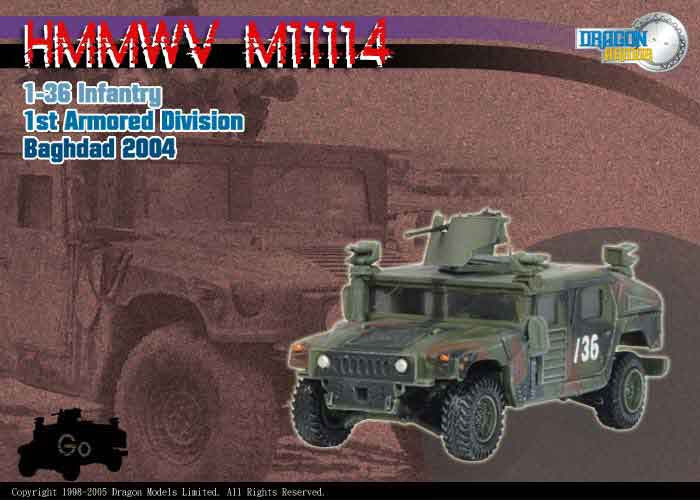 Dragon Models 1/ 72nd Scale Armor Series Modern HMMWV M1114, 1-36 Infantry, Ist Armored Division, Baghdad 2004 #60059