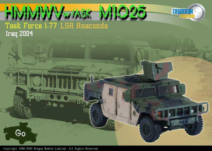 Dragon Models 1/ 72nd Scale Armor Series Modern HMMWV w/ASK M1025, Task Force 1-77, LSA Anaconda, Iraq 2004 #60066