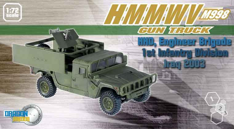 Dragon Models 1/ 72nd Scale Armor Series Modern HMMWV M998 Gun Truck, HHD, Engineer Brigade, 1st Infantry Division, Iraq 2003  #60074