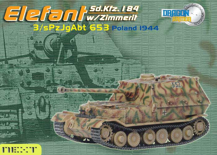 Dragon Models 1/ 72nd Scale Armor Sd.Kfz.184 Elefant w/zimmerit, 3/sPzJgAbt 653, Poland 1944 #60123